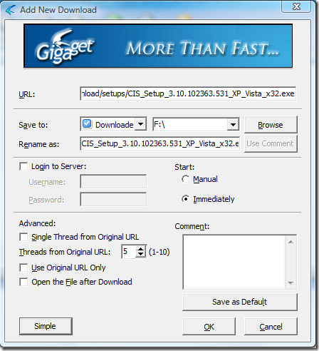 gigaget download manager - add new