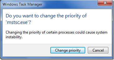 Confirm Change Prority