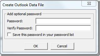 Create Outlook Data File Password