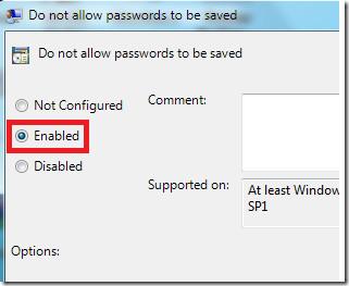 Dont save password