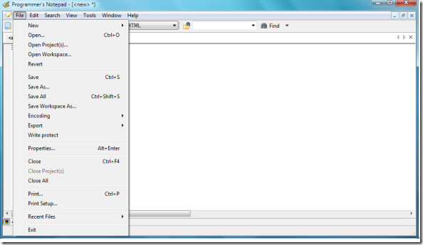 File Menu Program's Notepad