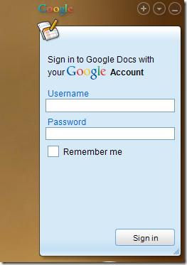 Google Docs Sidebar Gadget