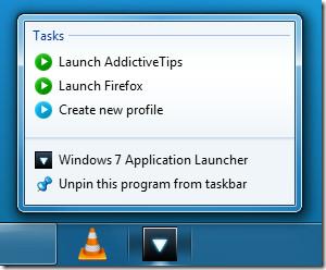 Jumplist Tasks Profile Windows 7