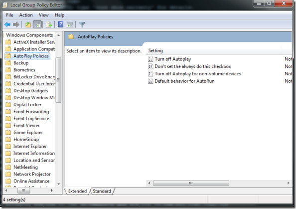 Local Group Policy Editor Auto Play