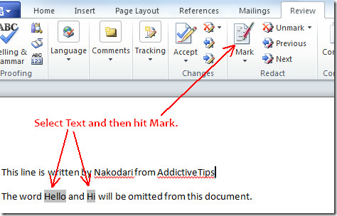 Mark text in word