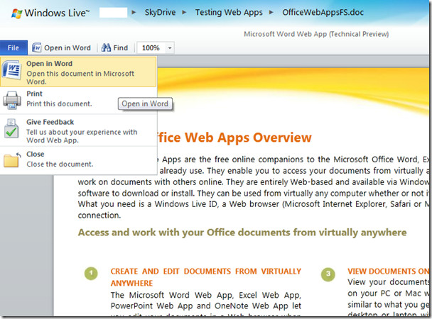 Microsoft Word Web App
