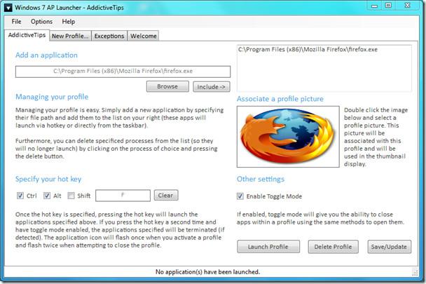 Windows 7 Application Launcher