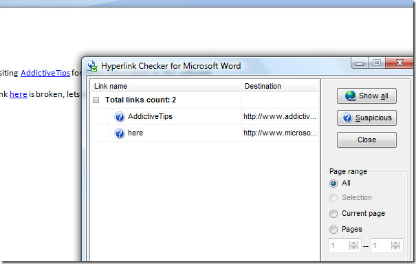 word link checker