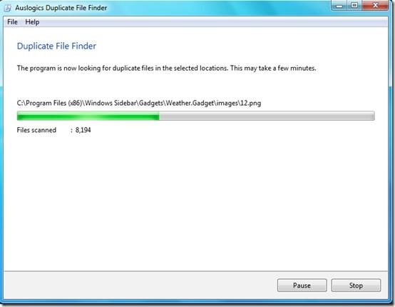 Duplicate File Fnder scanning