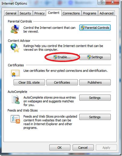 Enable Password IE8