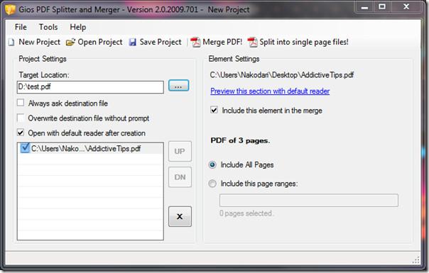 Gios PDF splitter and merger