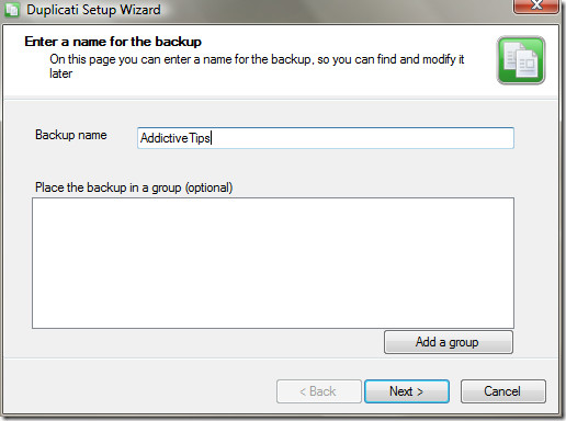 Give Backup Name