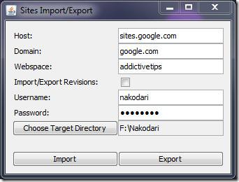 Google Web Sites Import