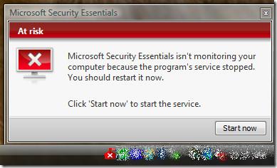 Microsoft Security Essentials Start Process