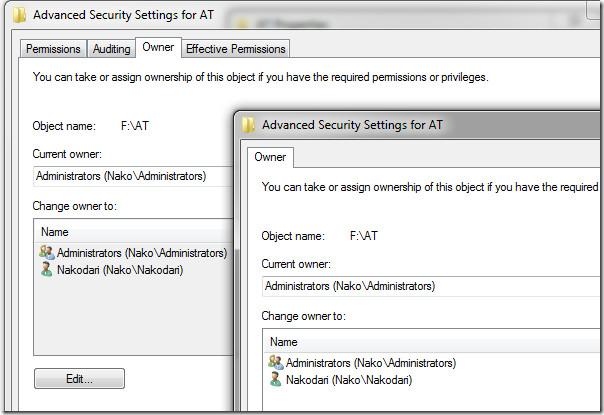 Owner Windows 7