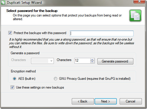 Password protect backup