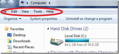 Windows 7 Menu bar