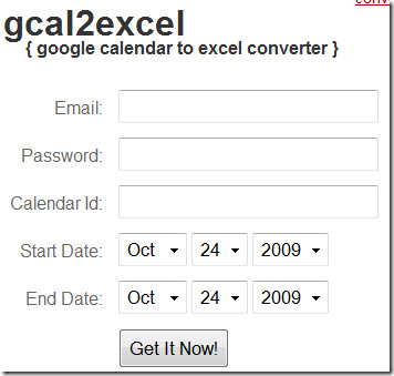 gcal2excel converter