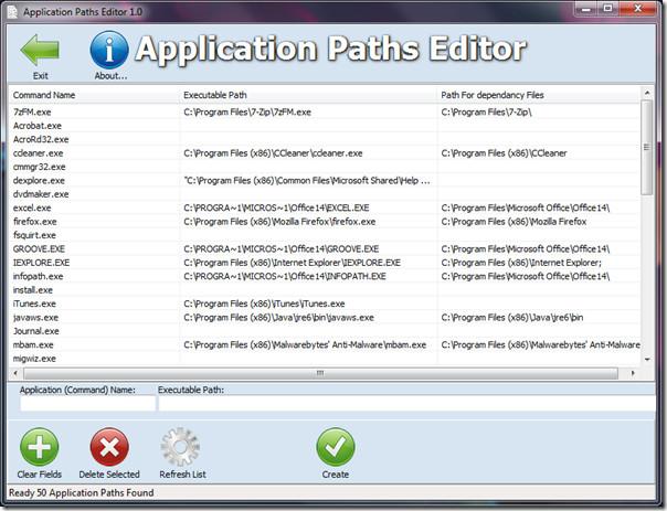 Application Paths Editor