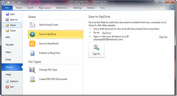 Document to SkyDrive