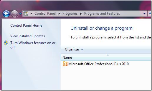 Office 2010 add remove programs