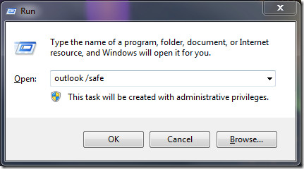 Run Outlook 2010 safe mode