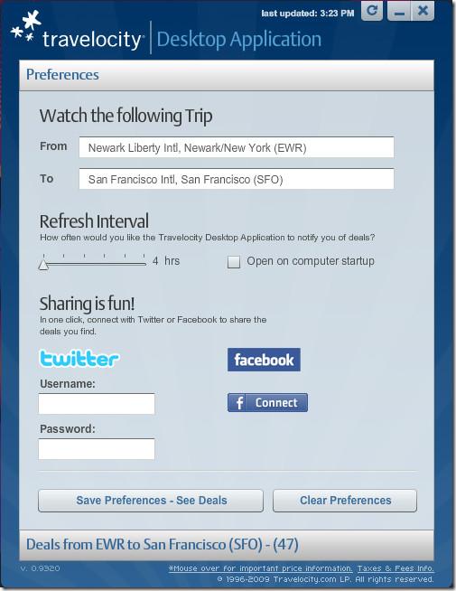 Travelocity Desktop Application