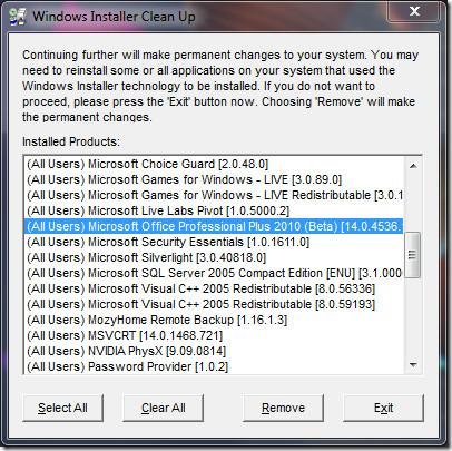 Windows Installer Office 2010 Cleanup