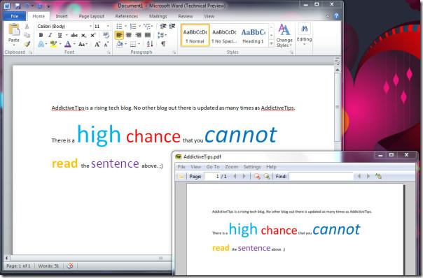 Word and PDF comparison