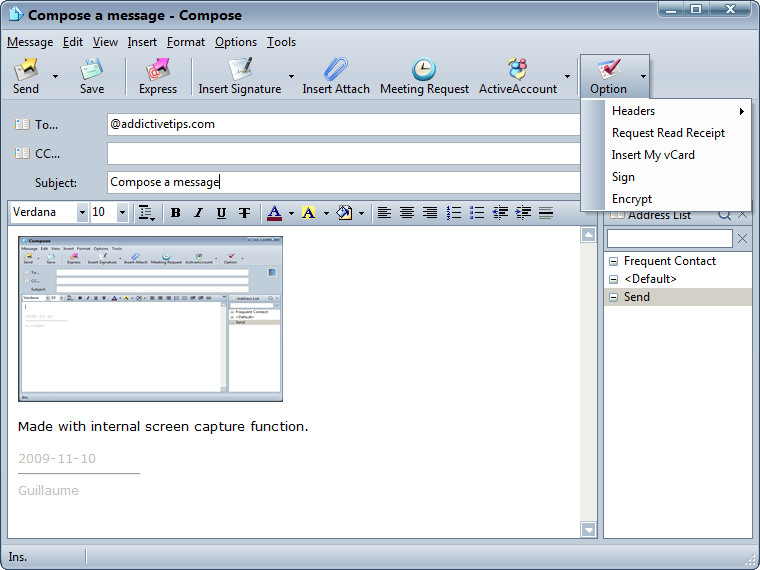 Compose window with encryption features