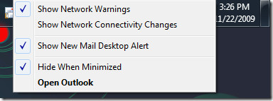 outlook 2010 system tray context menu