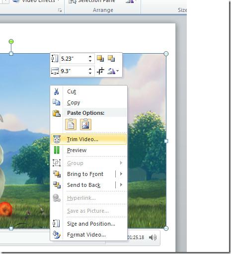 powerpoint video context menu