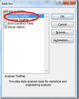 Analysis  ToolPak Excel 2010