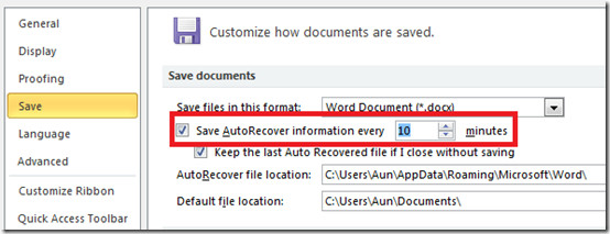Auto Recovery Word 2010