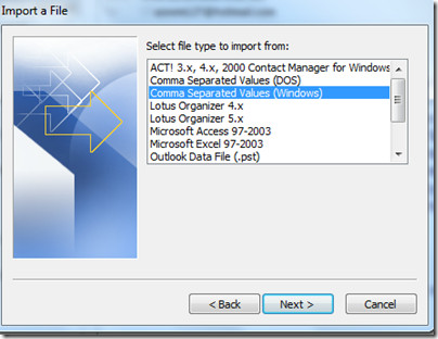 CSV Format Outlook 2010