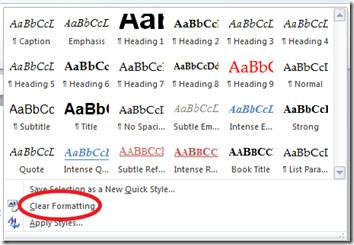 Clear Formatting Word 2010