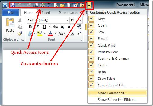 Customize Quick Access Toolbar