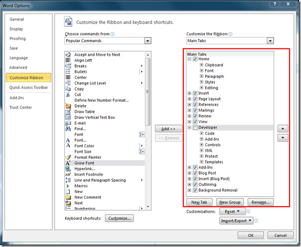 Customize Tabs and Ribbon