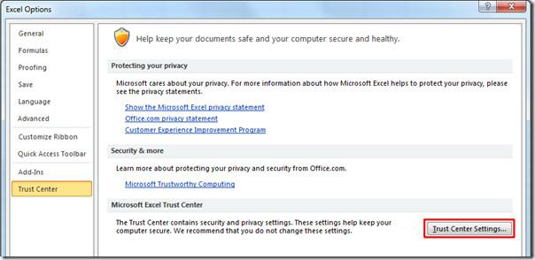 Excel Trust Center Settings