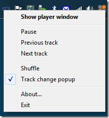 M3 Music Player context menu