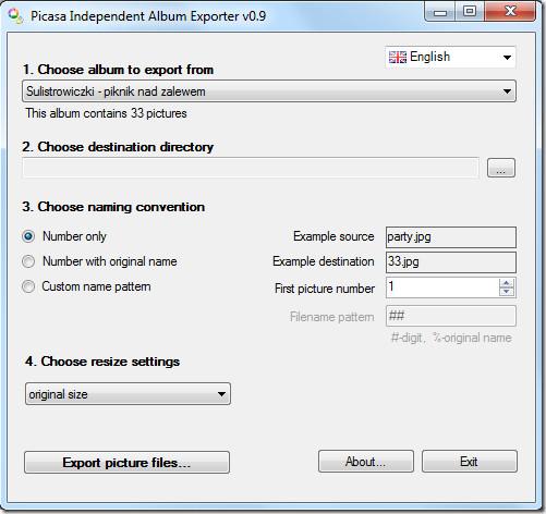 Picasa Independent Album Exporter