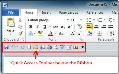Quick Access Toolbar Ribbon