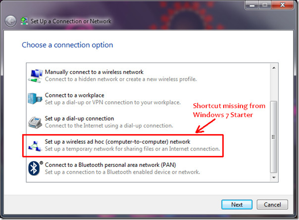 Set up connection or network