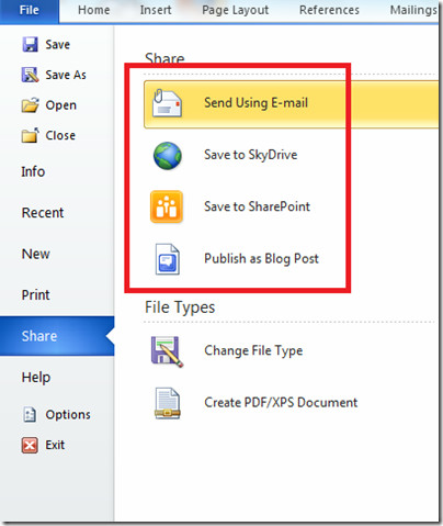 Share Document Word 2010