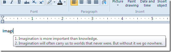 Wordpad Windows 7 Auto Complete