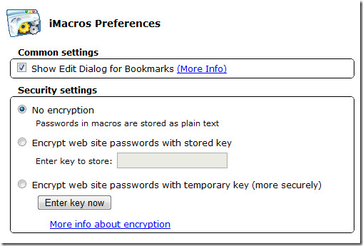 iMacros Preferences