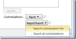 import customization file office 2010