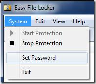 Easy File Locker menu