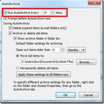 Enable AutoArchive