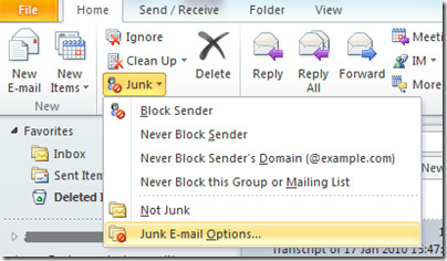 Junk Email Option